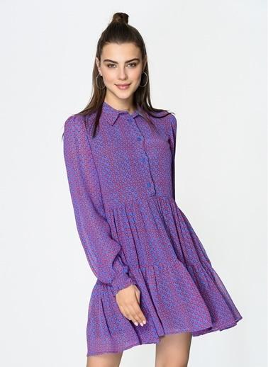 Loves You Puantiye Desen Şifon Gömlek Elbise Lila